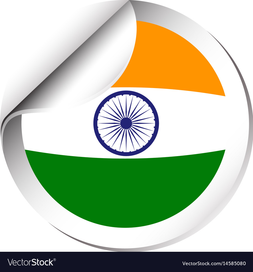 Sticker design for india flag vector image