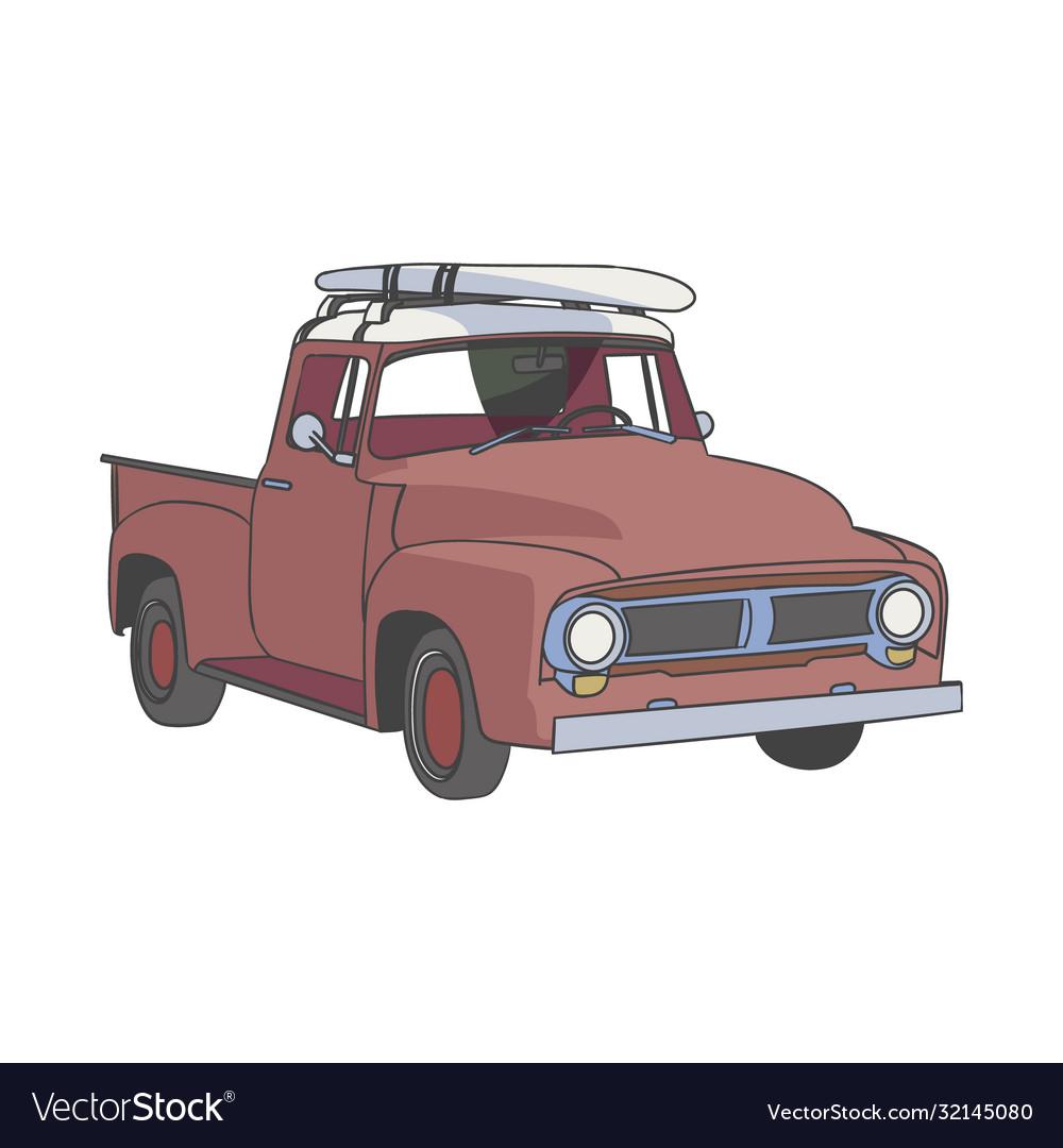 Surfboard classic red car clip art