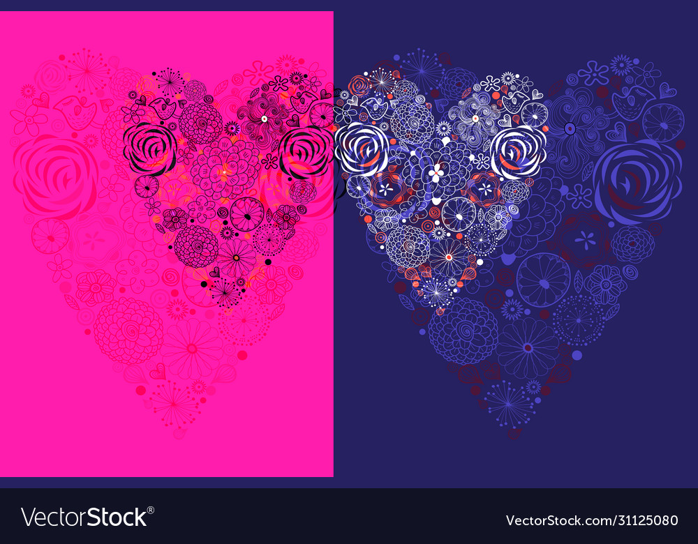 With decorative hearts