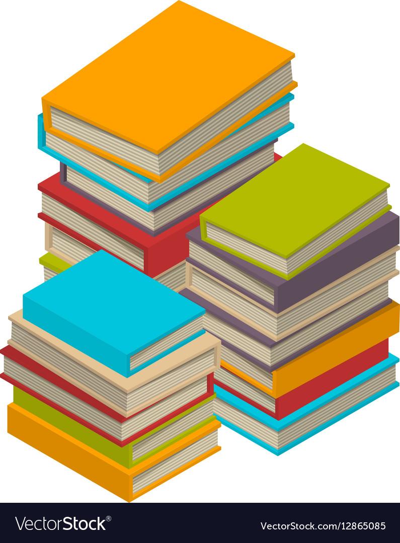 Big set of books tutorials Isometric flat