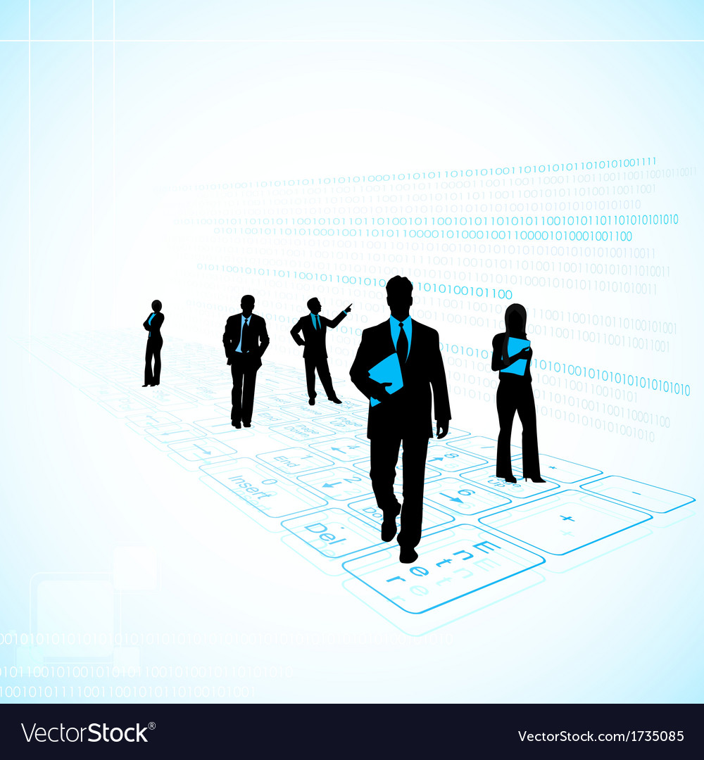 Business People on Technology Background vector image