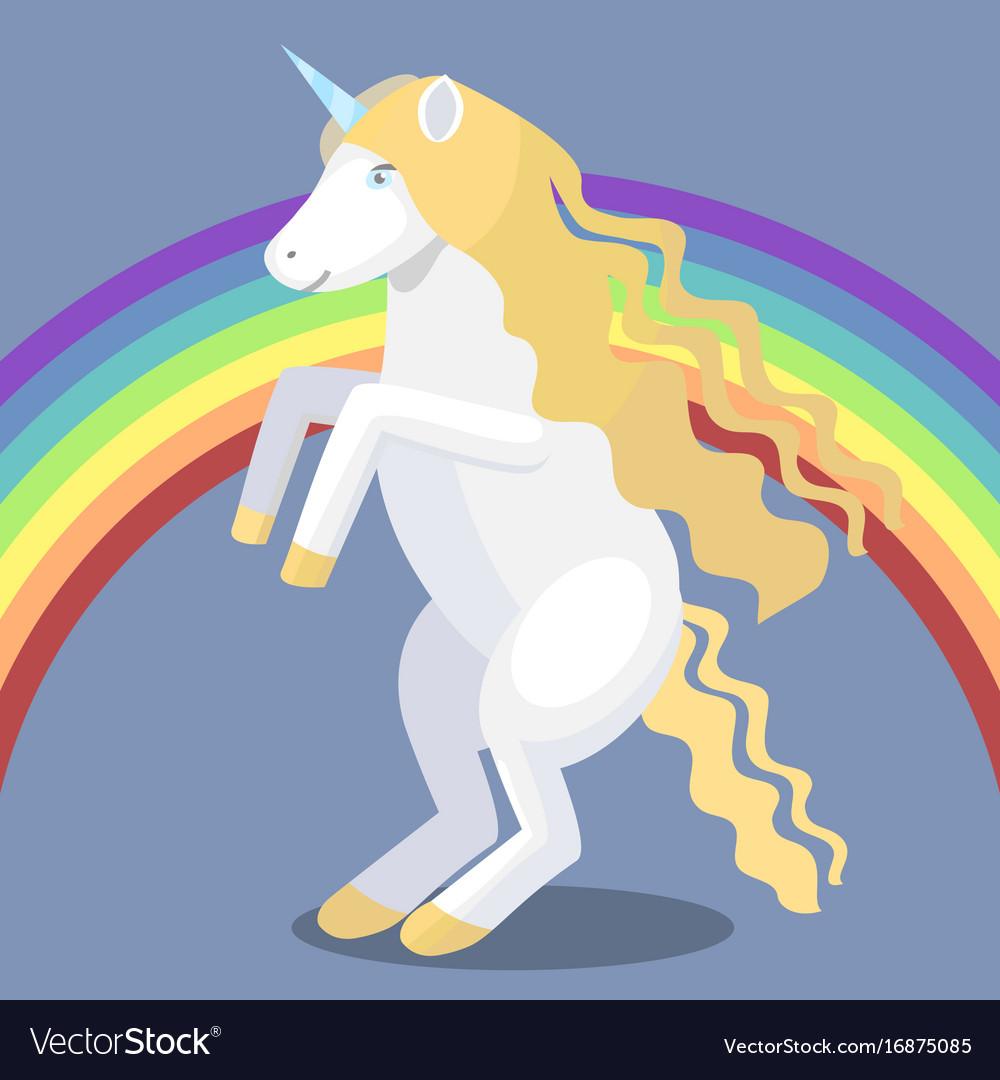 Cartoon unicorn and rainbow vector image