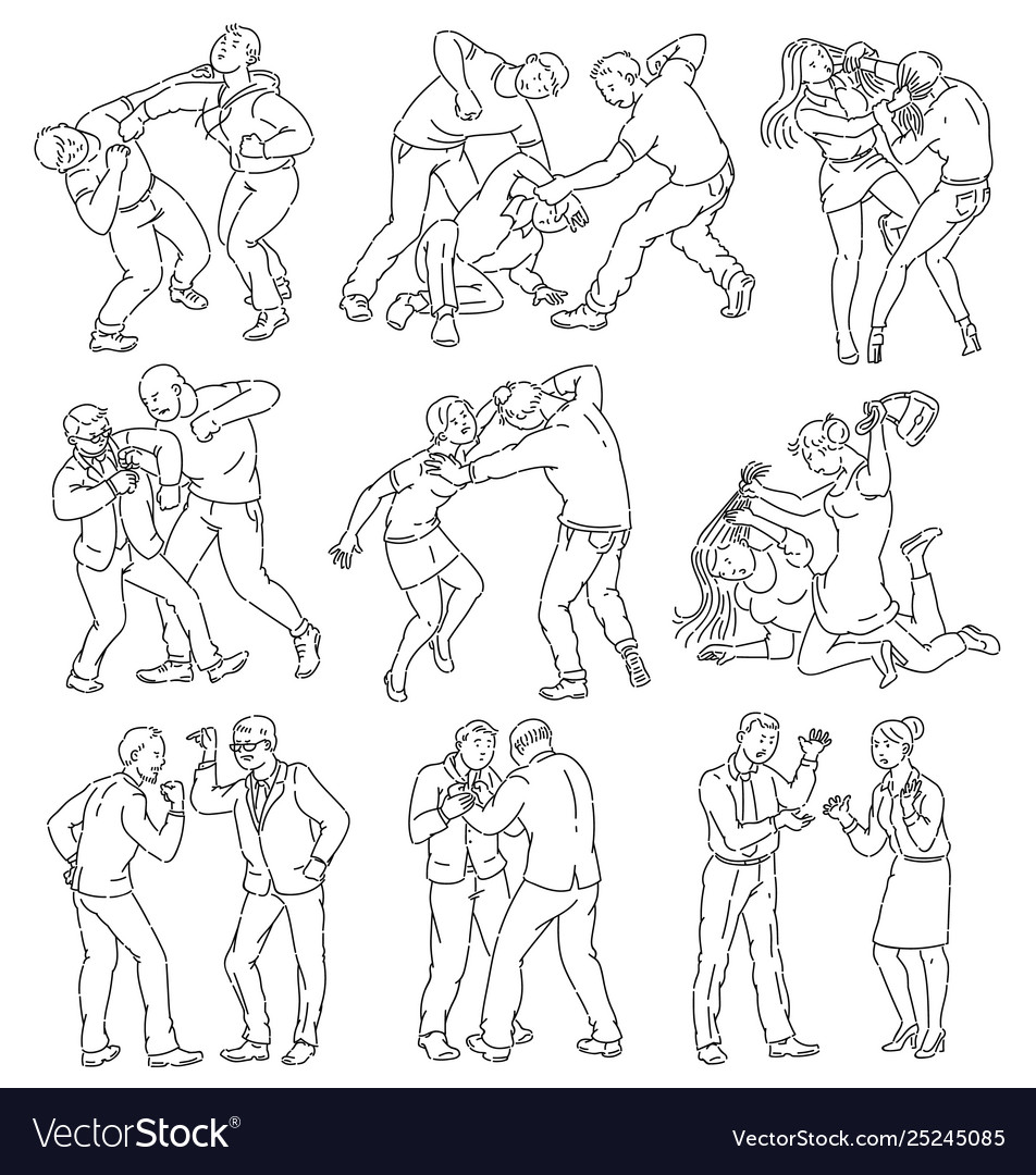 Coloring Book Page People Fighting
