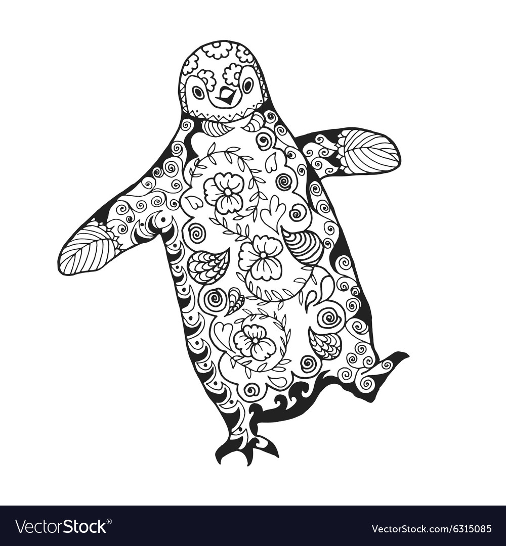 Cute penguin adult antistress coloring page vector image