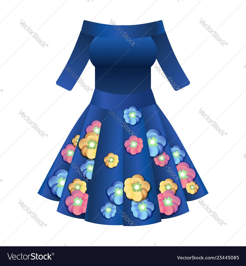 bbe36caef3805d Elegant dark blue women cocktail dress Royalty Free Vector