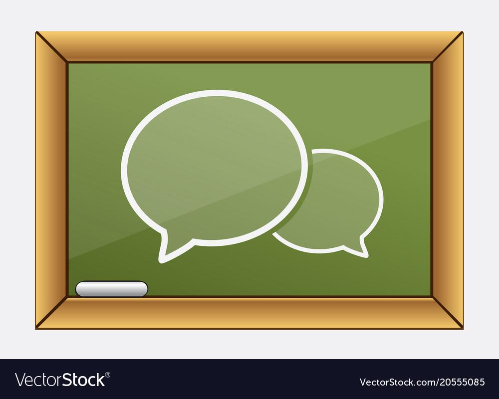 Green chalkboard teachers desk with bubble icon