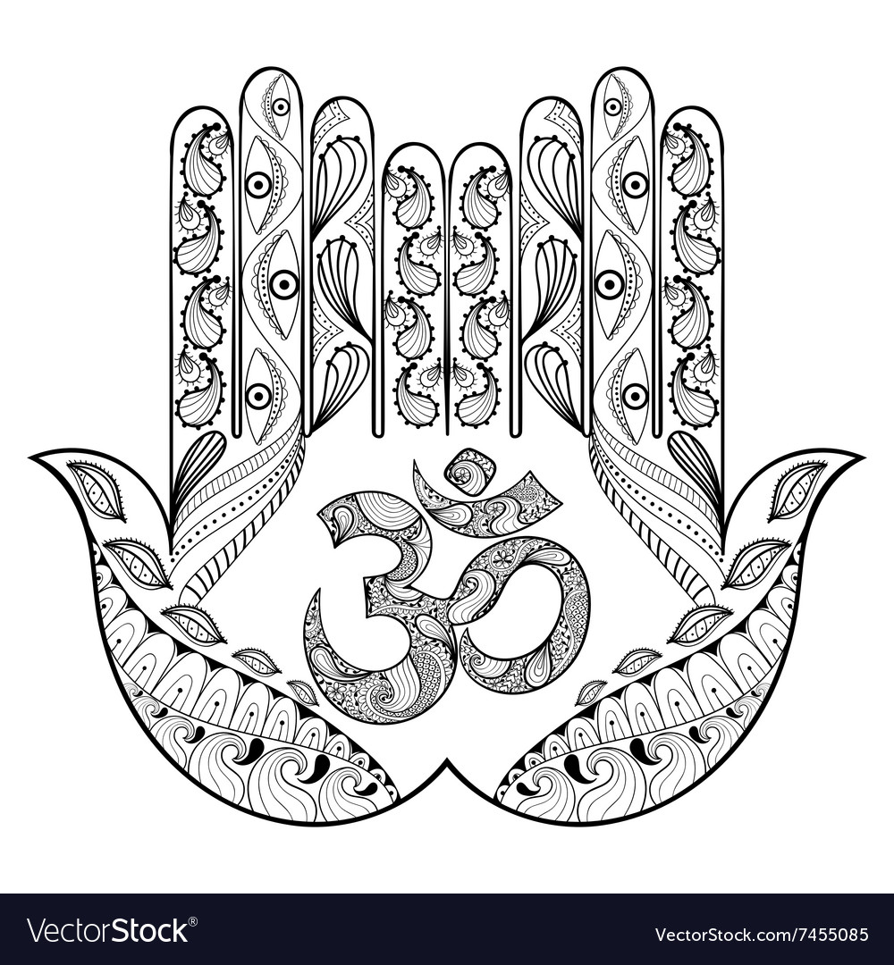 Hand Drawn Protection Hamsa For Adult Vector Image