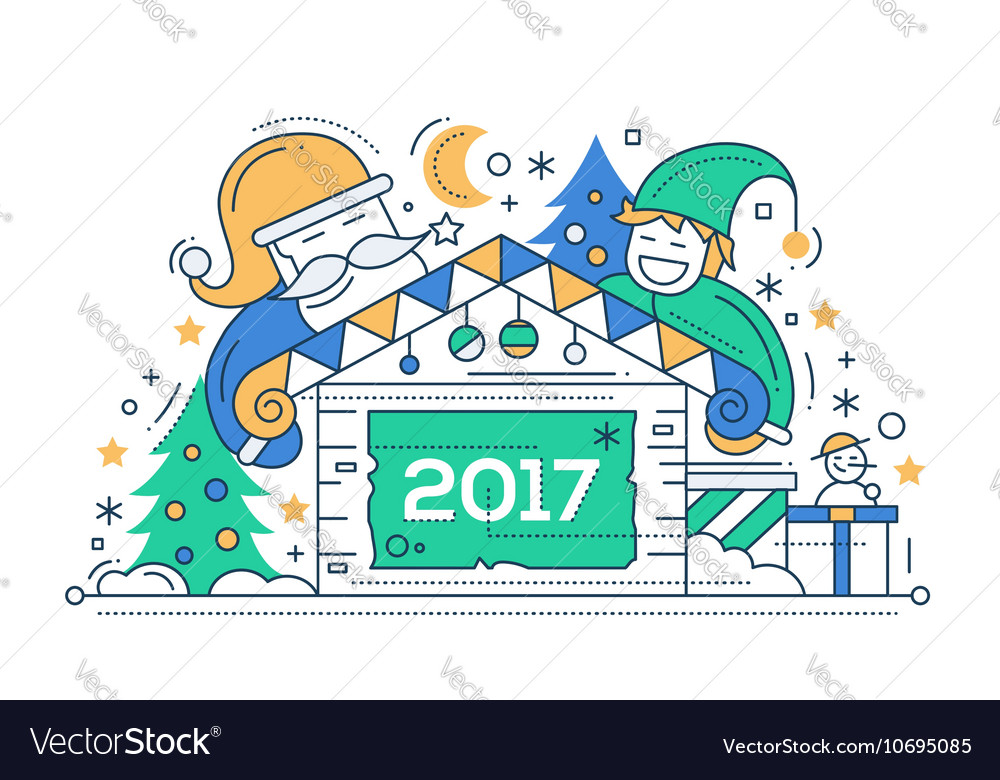 Merry Christmas and Happy New Year - line design
