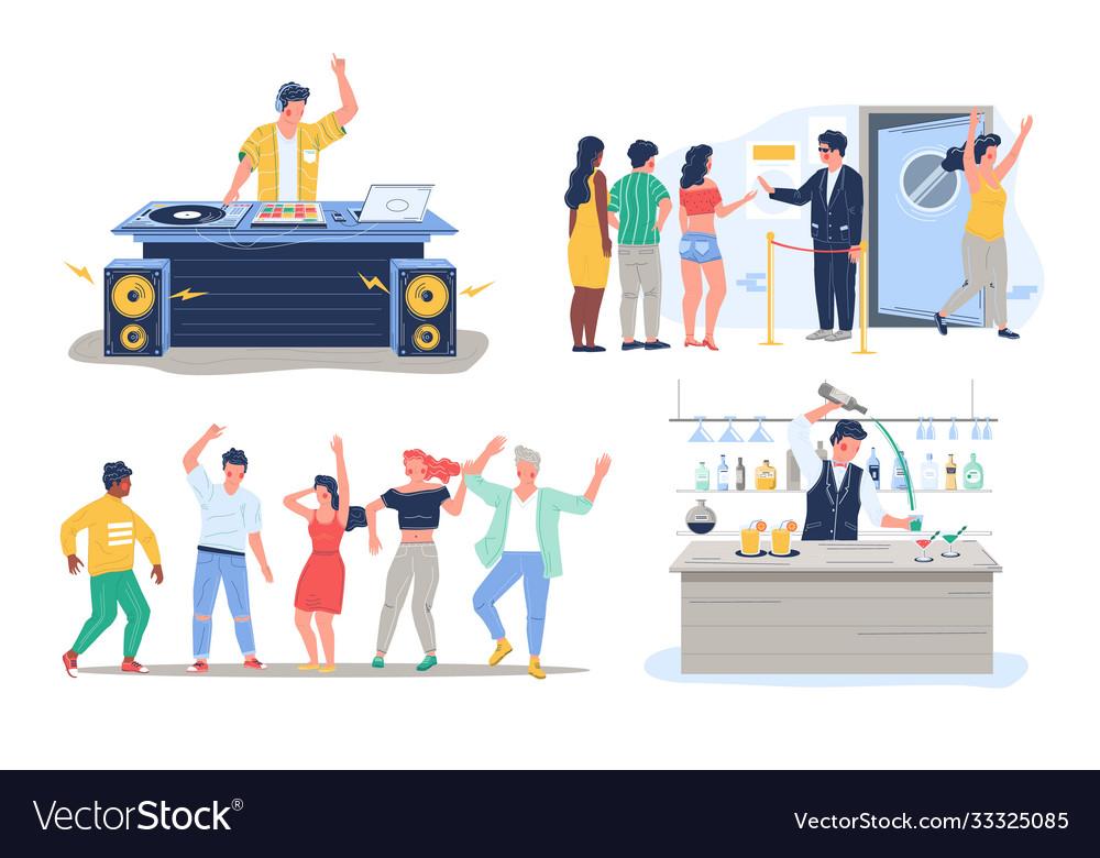 Night club dj dance disco party character set