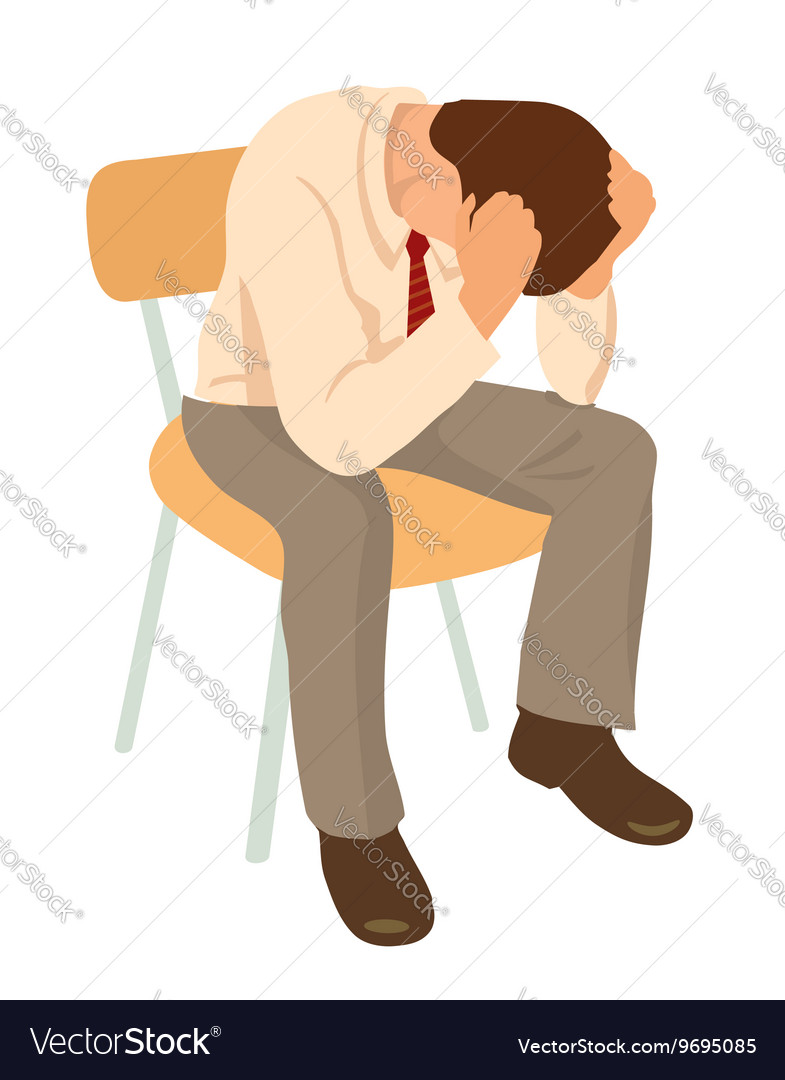Overworked businessman is under stress with vector image