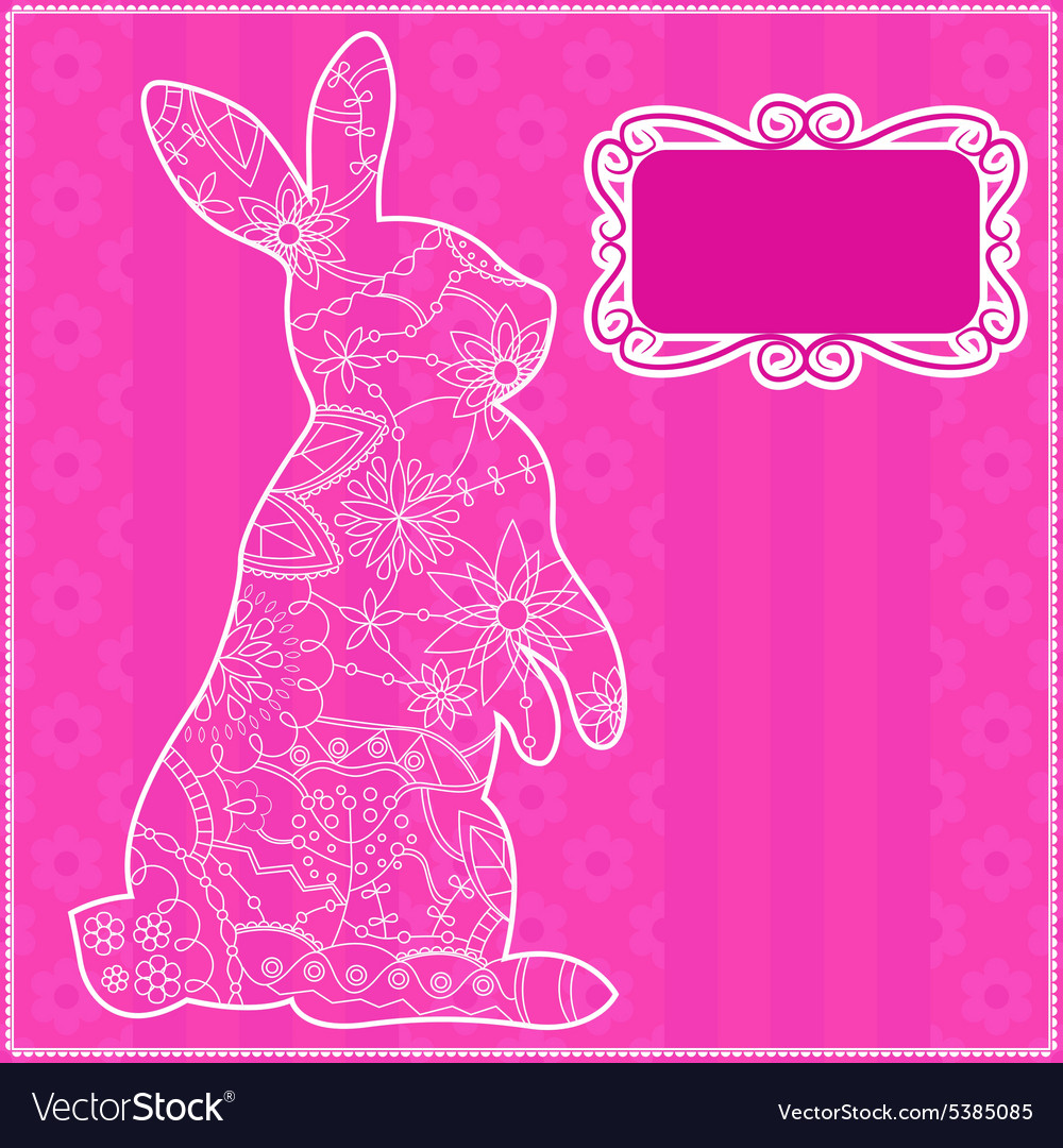 Pink background with rabbit