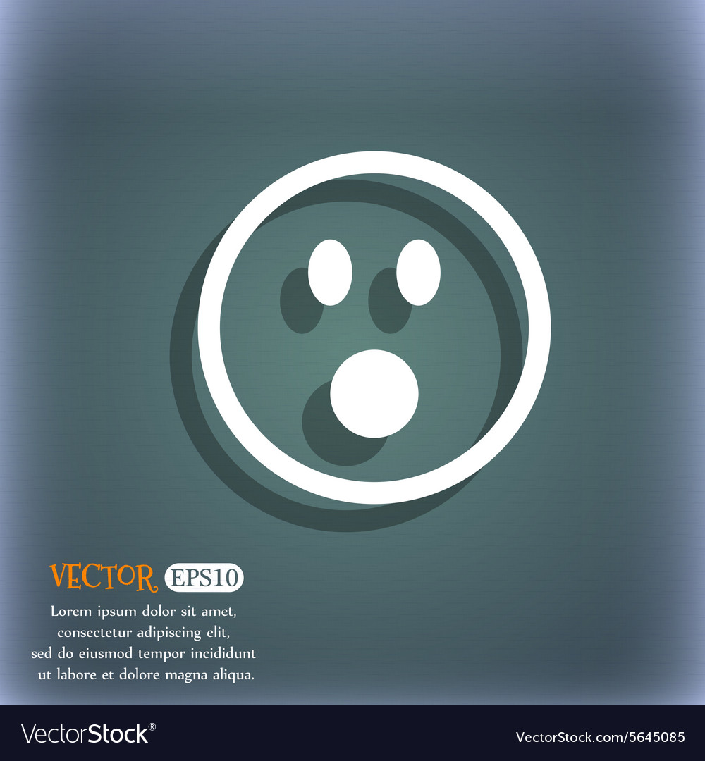 Shocked Face Smiley icon symbol on the blue-green vector image