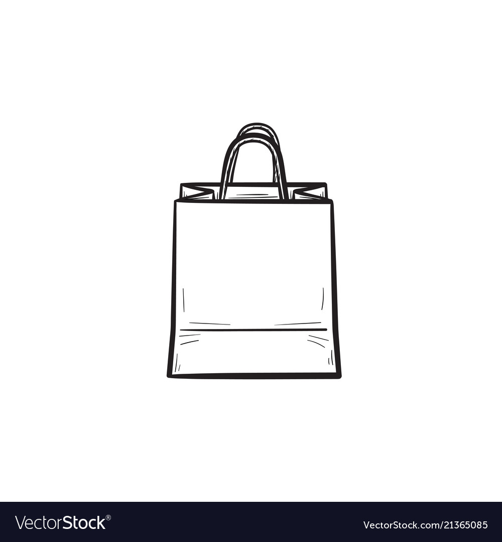 Shopping bag hand drawn outline doodle icon
