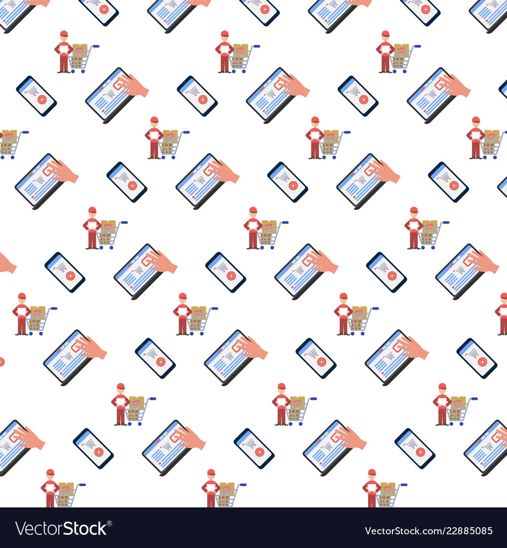 Shopping icons seamless pattern online mobile