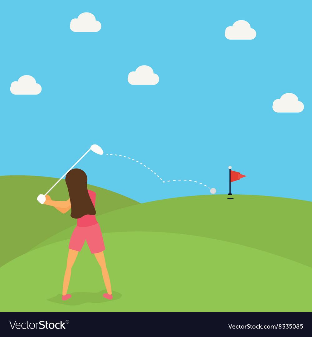 Woman play golf put ball on green cartoon vector image