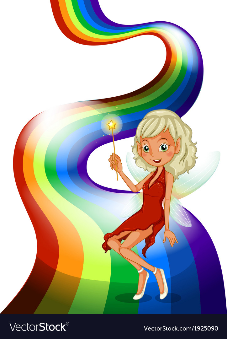 A smiling fairy above the rainbow