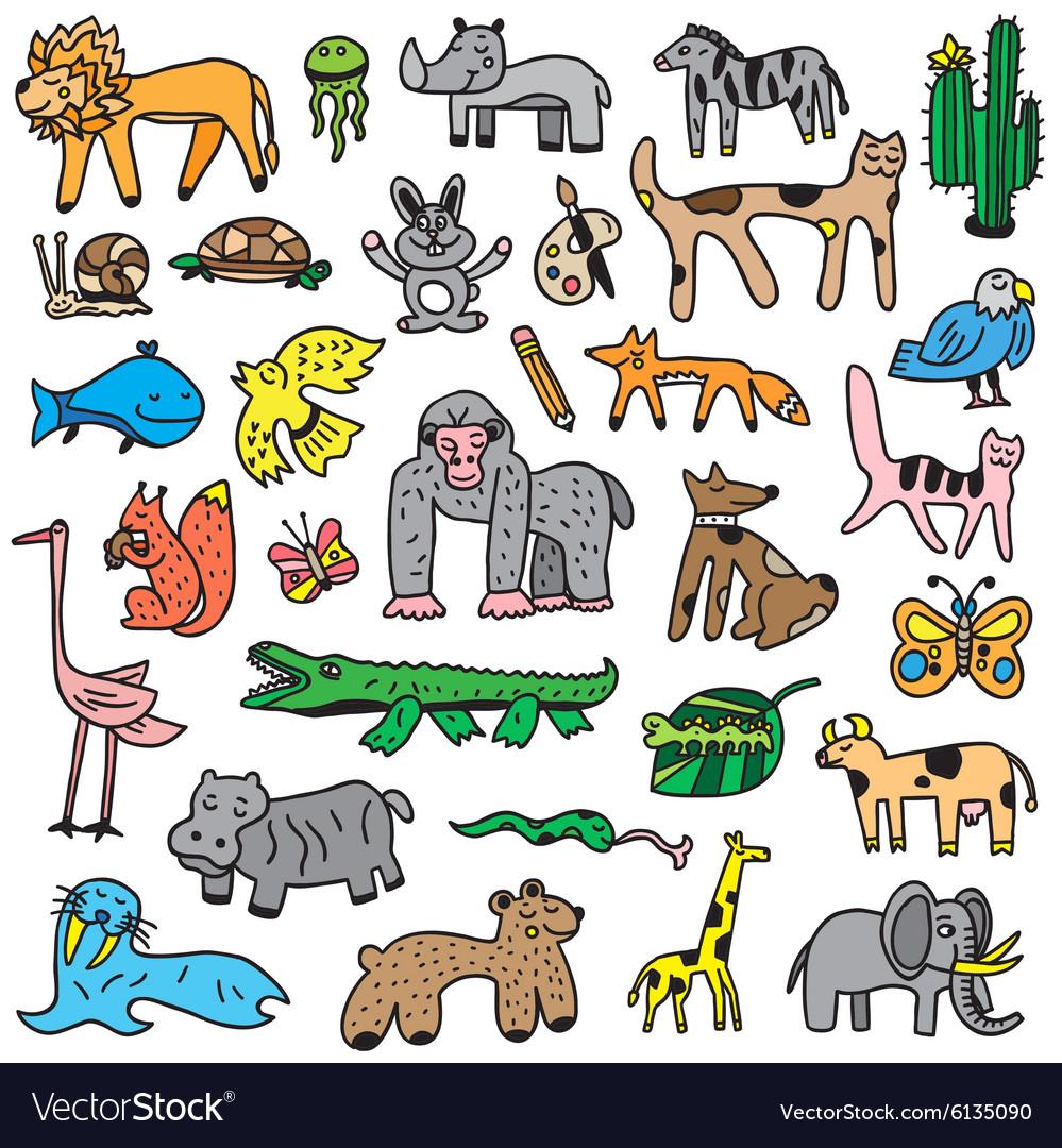Animals cartoons set