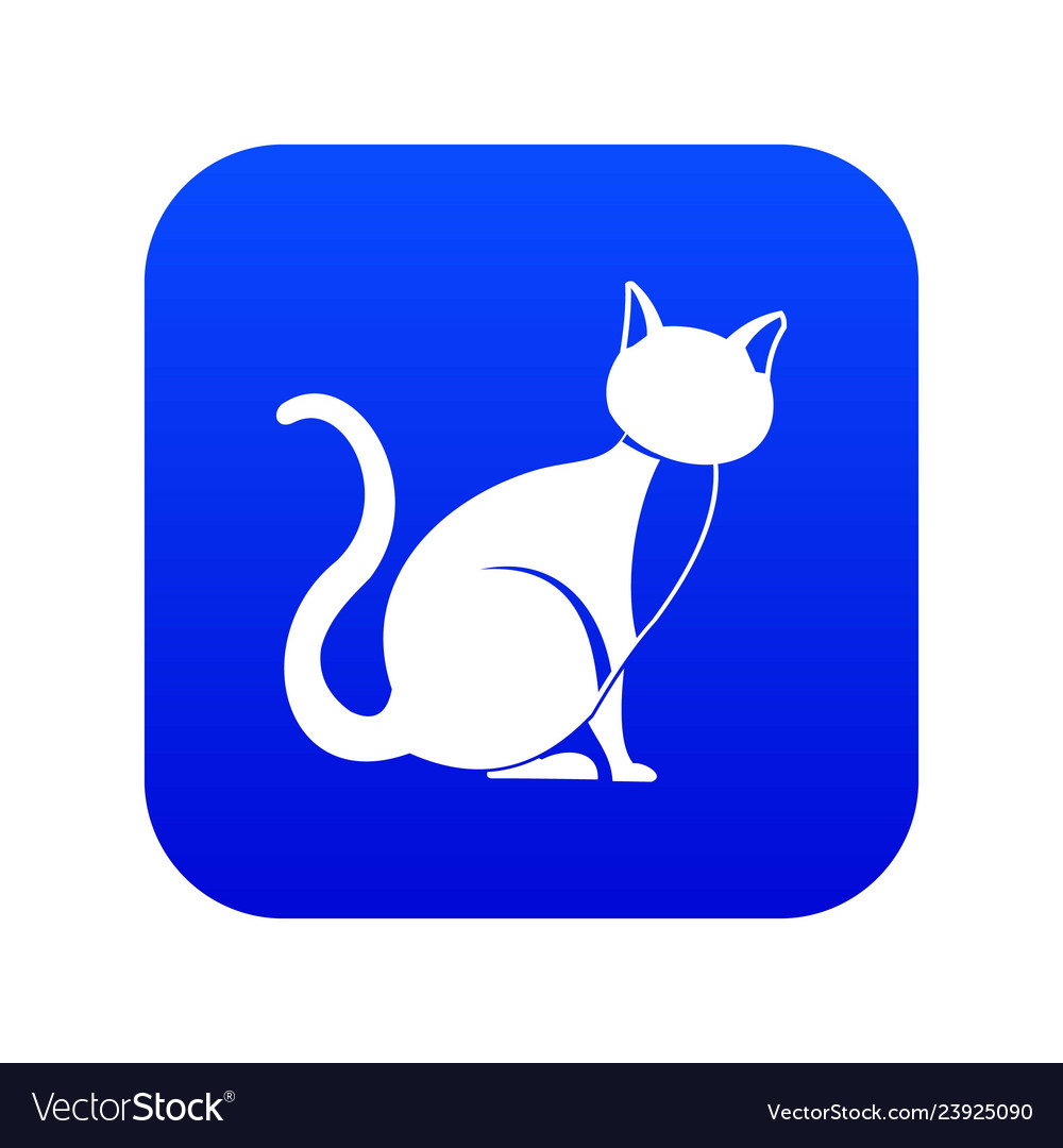 Black cat icon digital blue