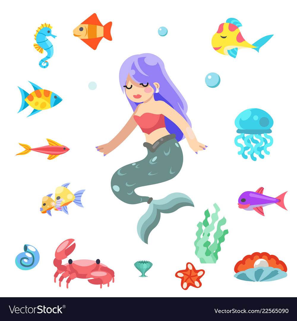 Cute little mermaid swimming under sea fishes