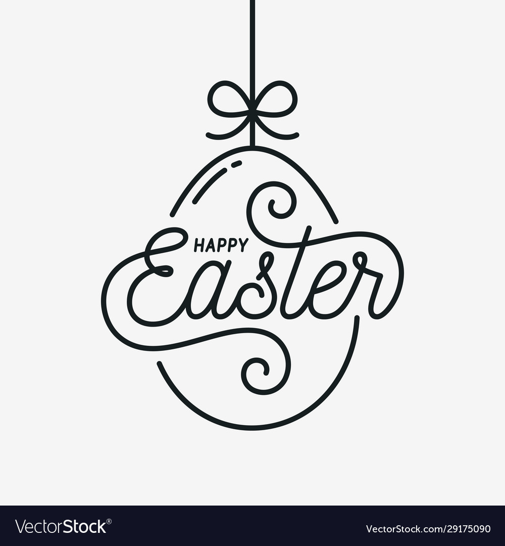 Easter egg card happy easter linear egg on white vector