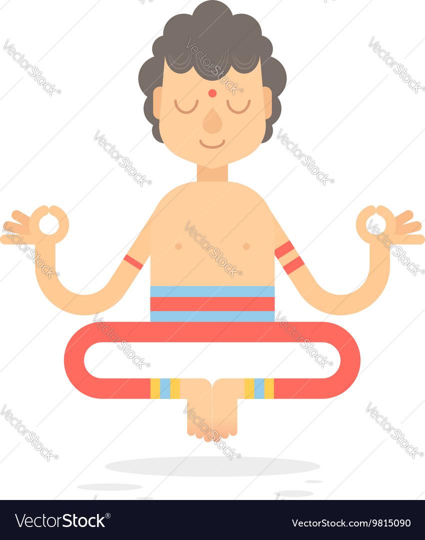 Flat meditating cartoon yogi character