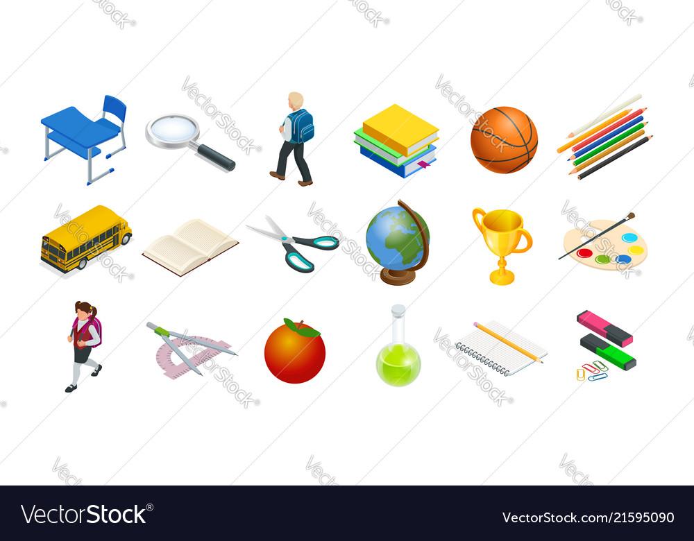 Isometric education icons set back to school
