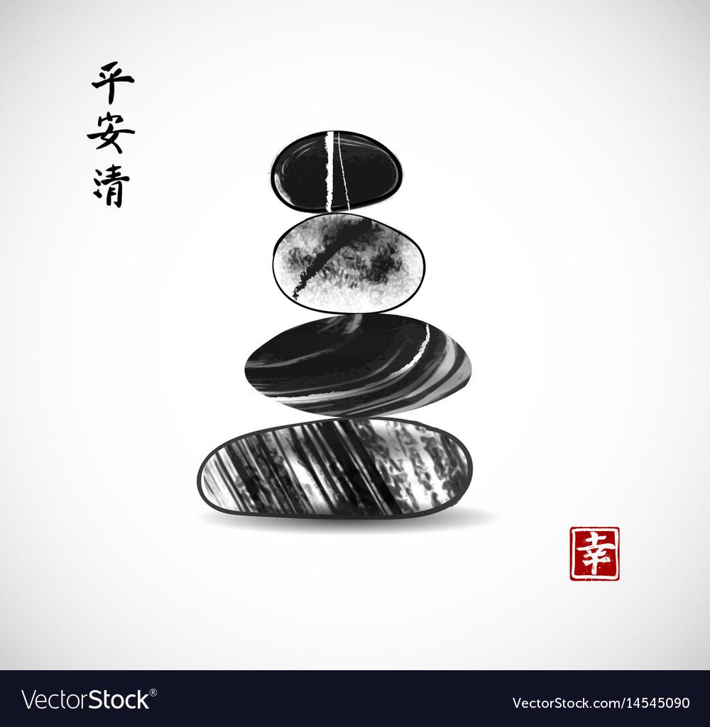 Pebble Zen Stones Balance On White Background Vector Image