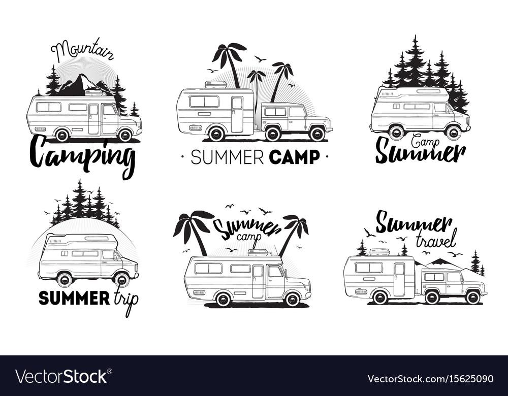 Set of camping trailer logo camper vans against vector image