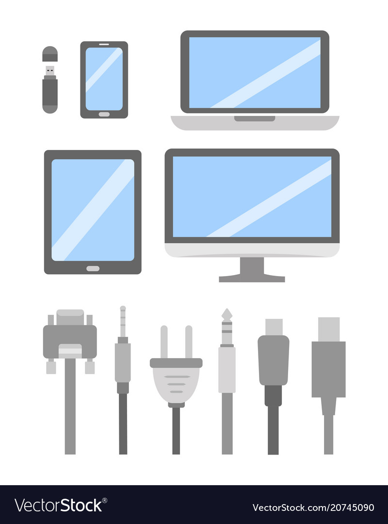 Set of pc flat icons cable wire computer Vector ImageVectorStock