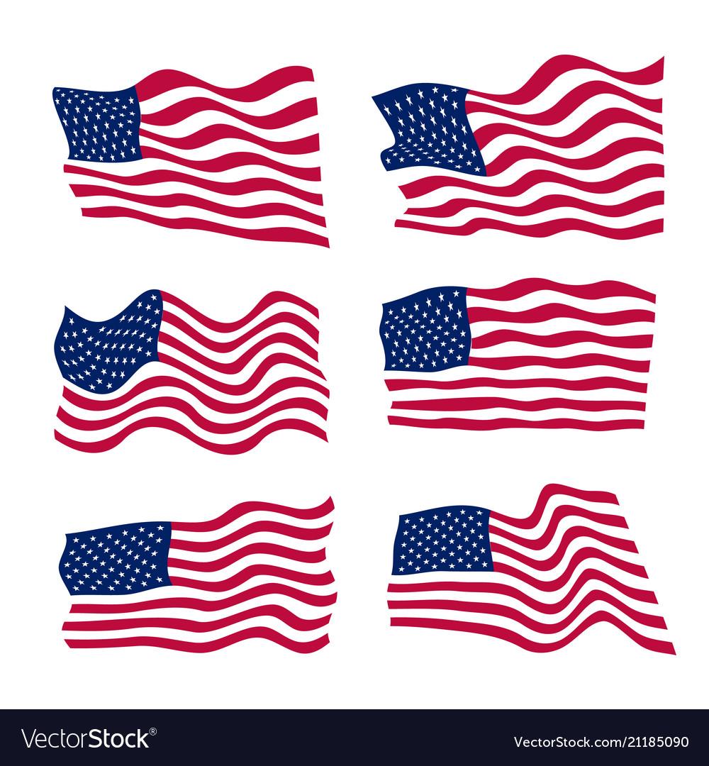 Usa flag set on white background