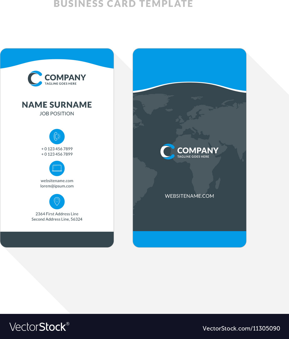 Vertical double sided business card template blue vector image cheaphphosting Gallery