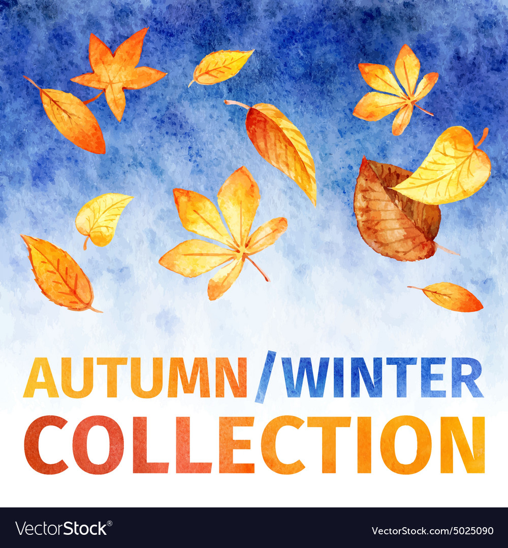 Watercolor leaves autumn winter collection