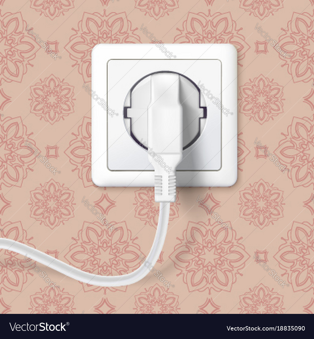 White plug inserted in a wall socket on backdrop