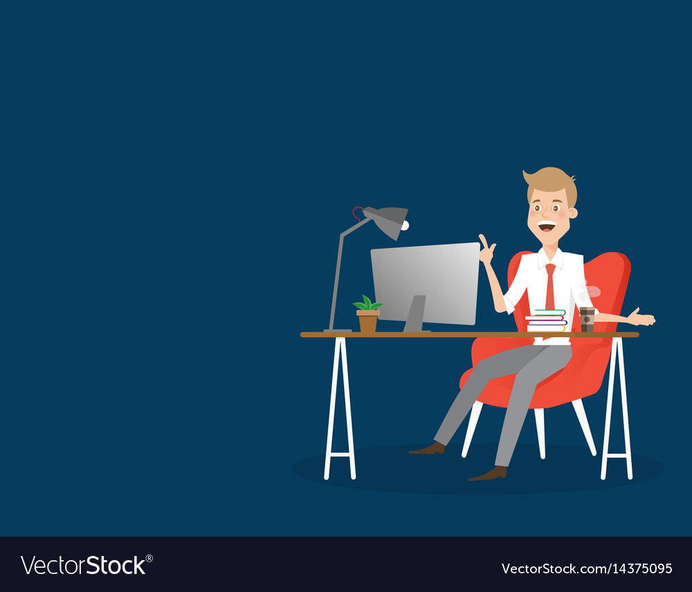 Business man working on computer at office desk vector image