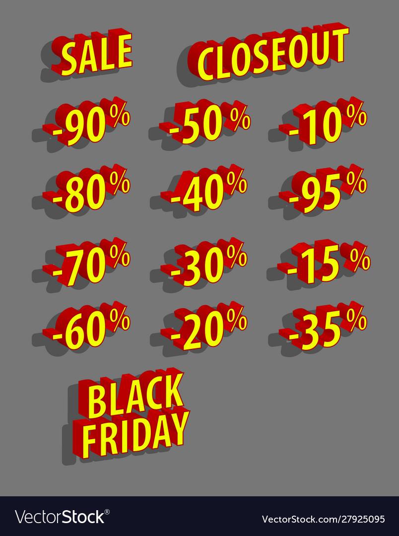 Discount logo set sale black friday 3d