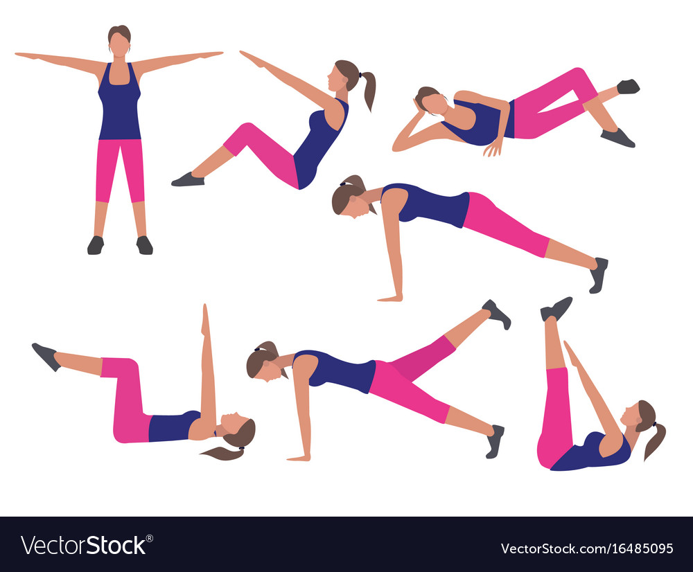 Fitness and workout exercise set icons in flat