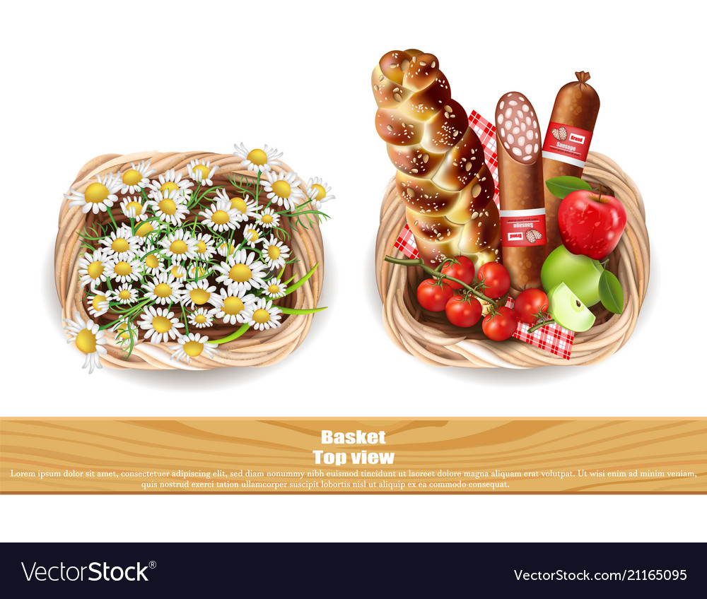 Food products full basket and chamomile