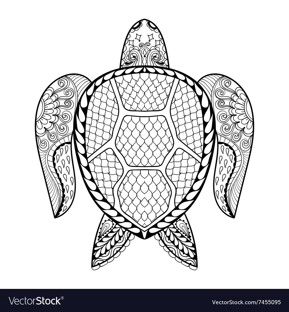 Hand drawn sea Turtle for adult coloring pages in vector image