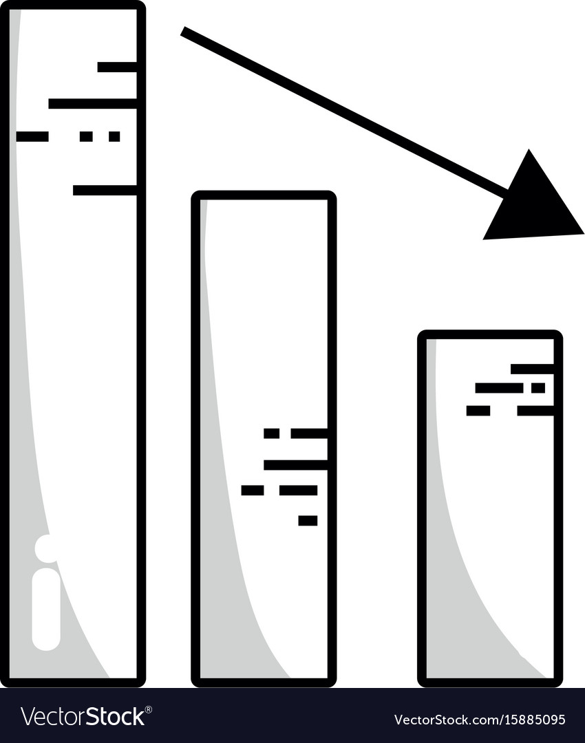 Line statistic bar with arrow down to business vector image