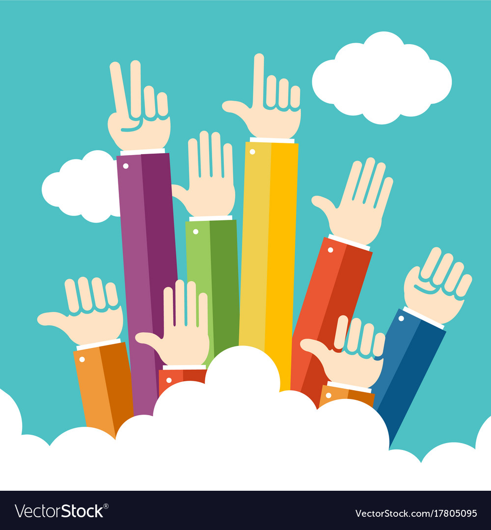 Raised hands up vector image