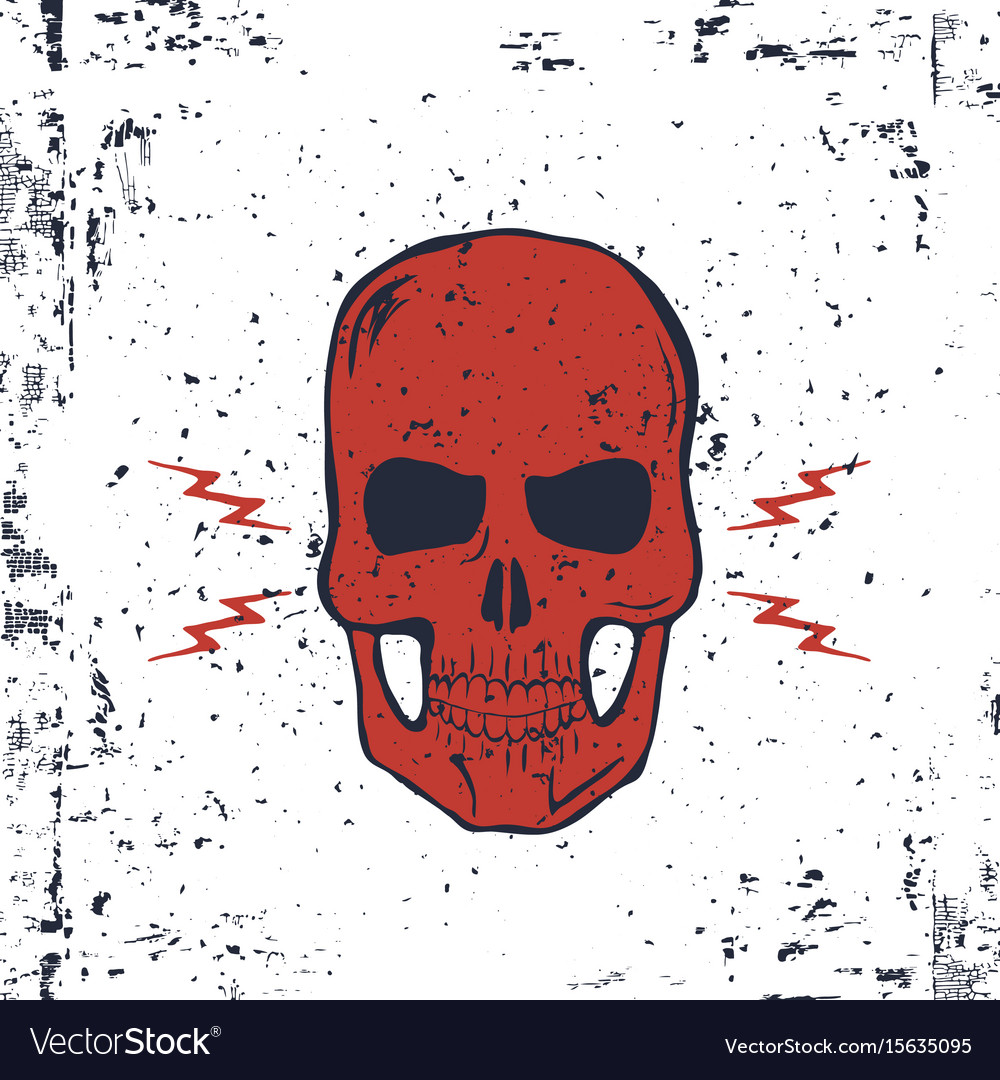 Red skull with lightning bolts and grunge texture
