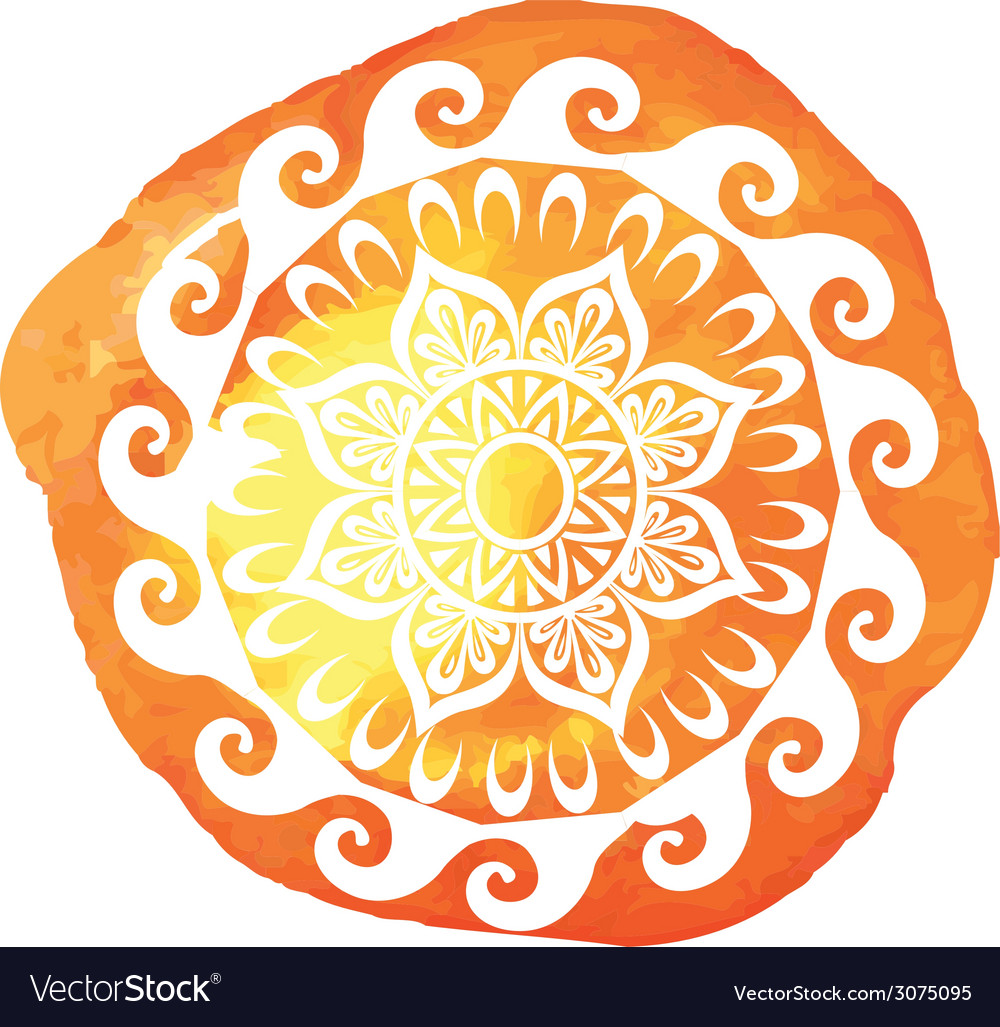Round pattern on watercolor splatters