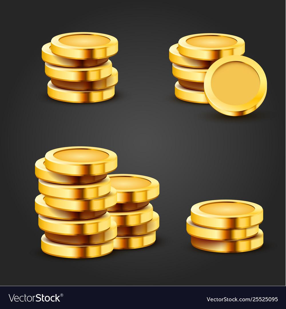Set golden stack dollar coins isolated on dark