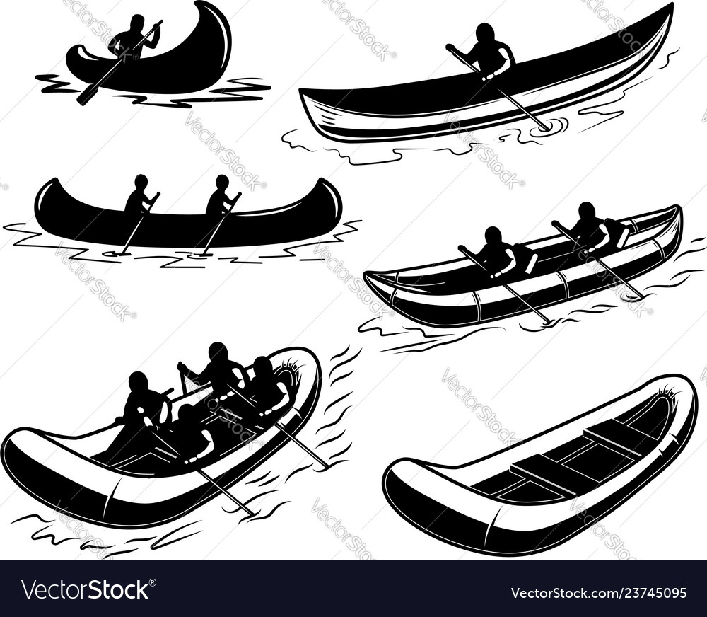 Set of canoe boat raft design element for poster