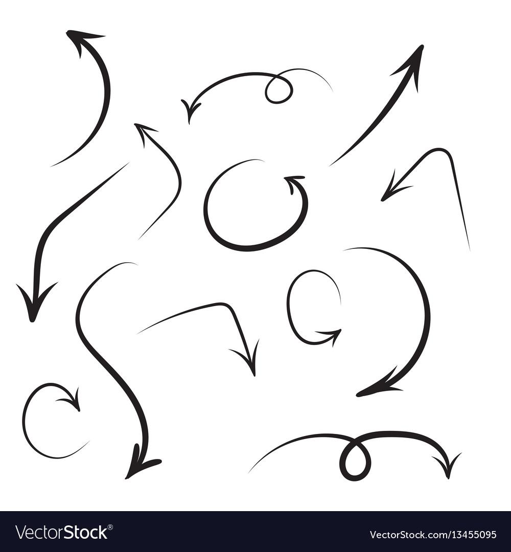 set of hand drawn arrows royalty free vector image