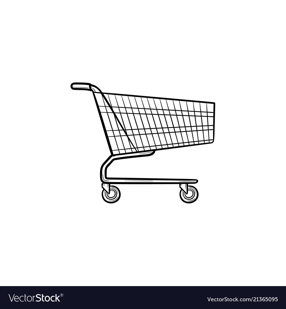 Shopping cart hand drawn outline doodle icon