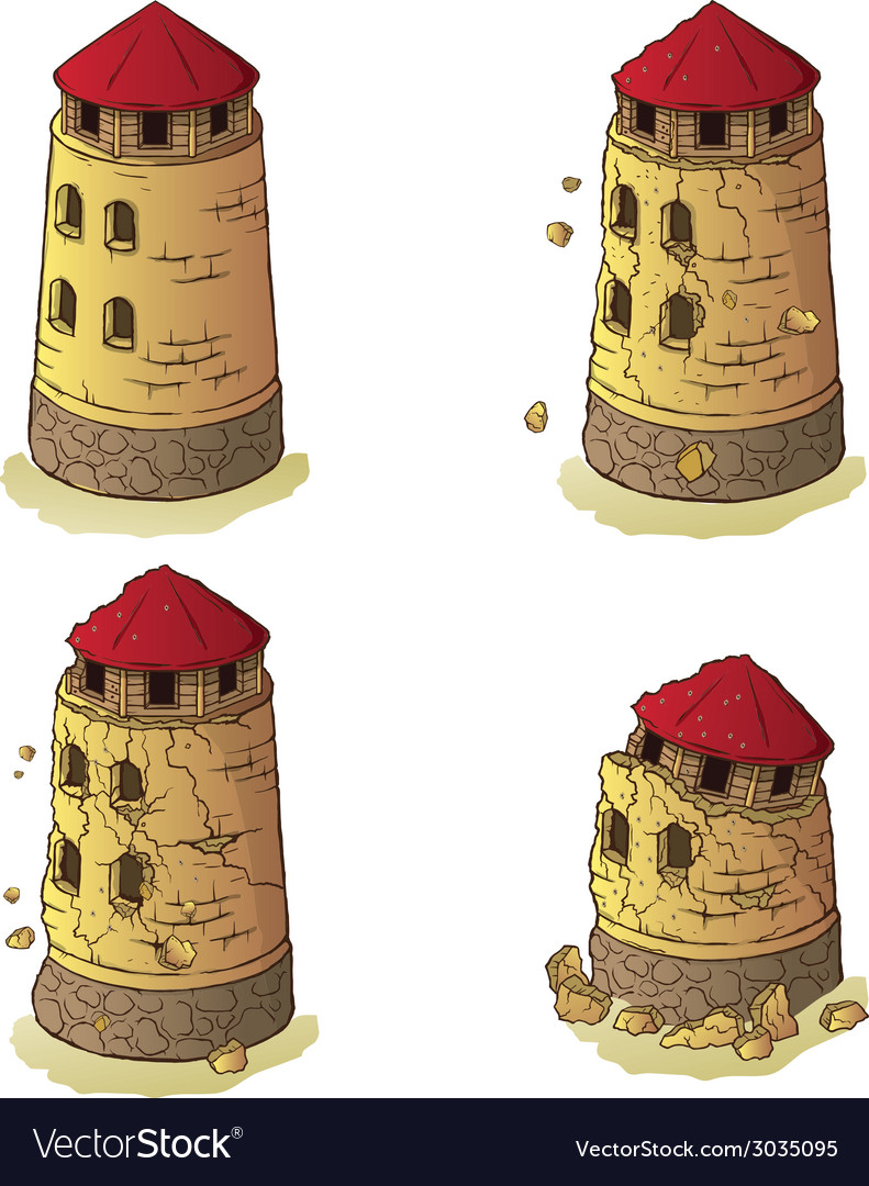 The destruction of the defensive tower vector image