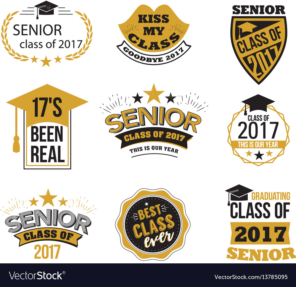 The set of black and gold colored senior text vector image