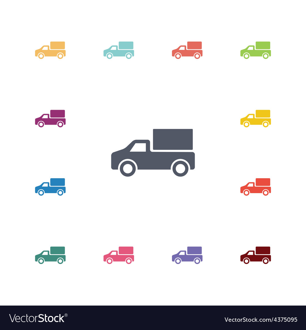 Truck flat icons set