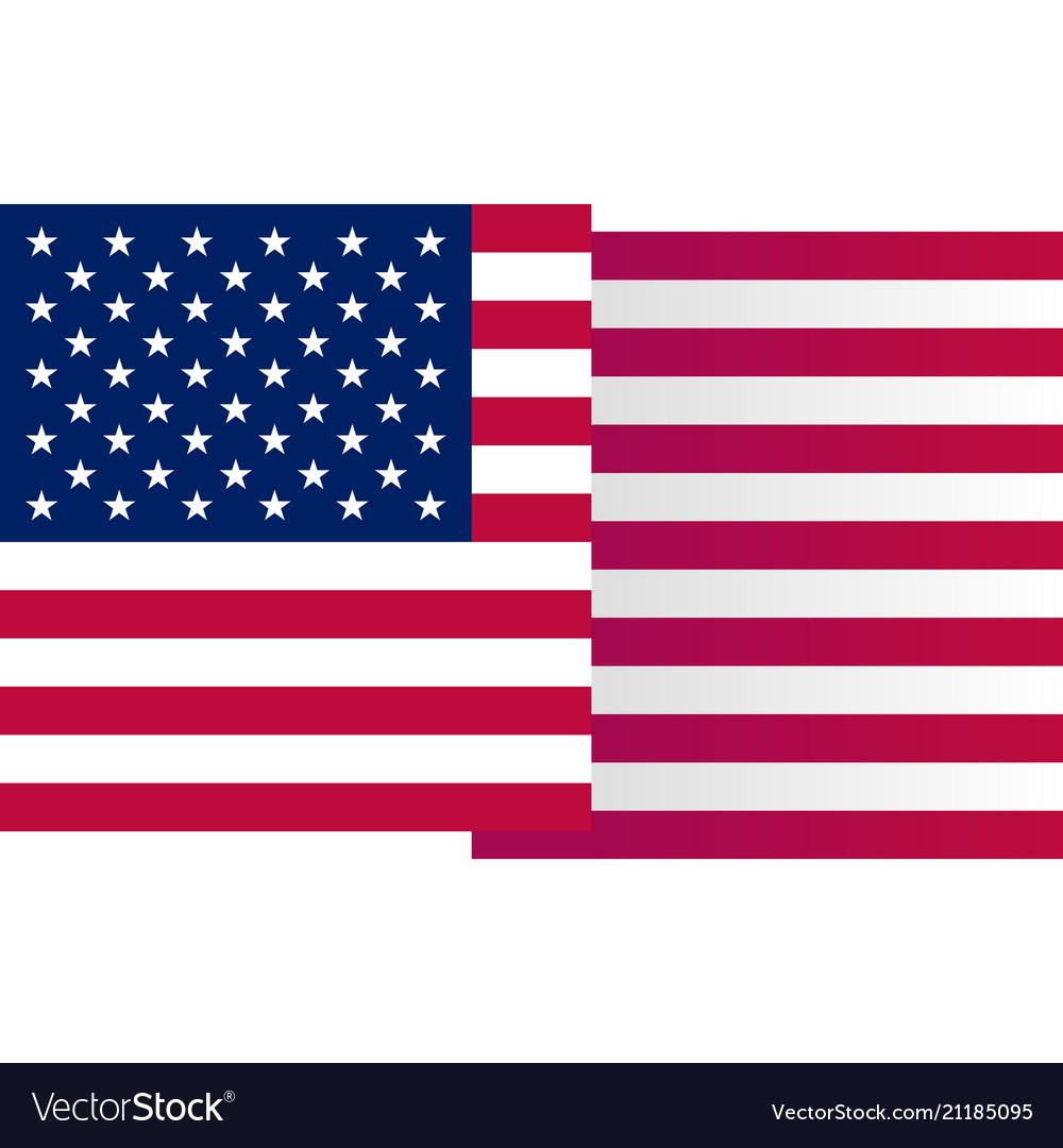 Usa big waving flag on white background